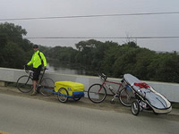 Bikes and trailers on the road